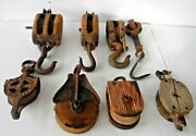 Lot Of 8vintage Wood And Iron Pulleys Hook Block Tackle Farm Barn Steampunk
