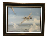 Wwii Aviation Spitfire Oil Painting Signed By Heinz Lange