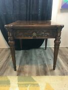 Vintage Villa Borghese By Henredon 1 Drawer Wood Side Table 22 1/4 X 23 X 27