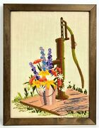 Vtg Farmhouse Crewel Yarn Art Picture Handmade Water Pump Floral Daisies Cottage