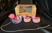 Vintage 12 Walter Wooden Pull Toy Duck Family 744 West Germany Free Shipping