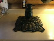 Vintage Antique Victorian Christmas Tree Bell Ornate Cast Iron Green Gold