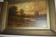 William Keith Oil On Canvas On Board Large Painting 17 1/2 X 28 1/2