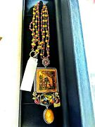 Amy Kahn Russell 82.70t Antique Collector Painting Necklace Ss/brass Multi-gem