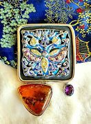 Amy Kahn Russell Huge One Of A Kind Resin Baltic Amber Amethyst S/s Pin/pendant