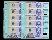 Vietnam 500000 500,000 Dong, Polymer, 2003-2020, P-124 Banknote, Unc Lot 10 X 50