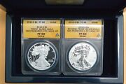 2012-s American Silver 2-coin Set Anacs Reverse/proof Rp69/pr69 W/box And Coa