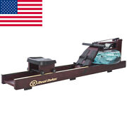 Water Rower Cardio Fitness Wood Rowing Machine Lcd Monitor Home Exercise Gym Uu