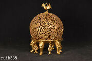 China Antique Pure Copper Gilded With Gold Hollow Out Small Incense Burner