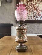 Antique Taylor Tunnicliffe/hinks Oil Lamp Etched Cranberry Glass Shade Imari