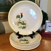 7 Paden City Pottery Provincial Pattern Rooster Dinner Plates Farmhouse Chic