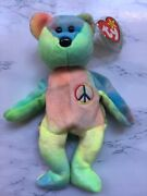 Ty Beanie Baby Peace Bear 1996- Mint Quality With Tag Errors