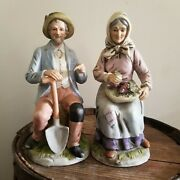 Set Of Vintage Homco Home Interiors Old Man And Woman Porcelain Figurines 1433