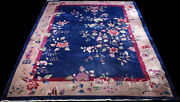 An Antique 9and039 X12and039 Blue Ground Art Deco Chinese Rug