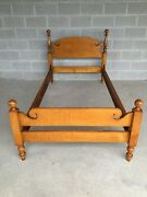 Antique Tiger Maple Chippendale Style Cannon Ball Twin Bed
