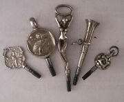 5 Richly Engraved Keys Incl. Anaked Womanandacoin For Antique Watches Perfect