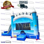 21x13ft Commercial Inflatable Ice Castle Bounce House And Slide With Air Blower