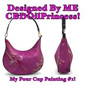 My Pour Cup Painting 1 Leather Curved Hobo Bag