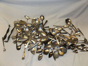 Lot Of 113 Silverplate Spoons Cocktail Forks Misc. For Crafts Resale No Monos