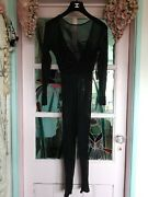 Rare Find Vintage Black Nylon Lace Stretchy Catsuit Size 10 Full Body