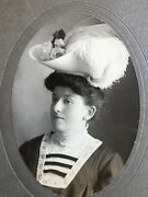 Antique Photograph Edwardian Woman Fashion Feather Hat Large Cabinet Card 9 Inch