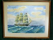 Watercolor Painting Seascape Square Rigged Sailing Ship/vessel J.a. Larsen