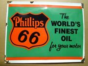 Phillips 66 Gas And Oil Worlds Finest Oil Enamel Sign Gas Pump Sign A
