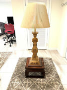 Antique Floor Lamp With Wood And Marble Base