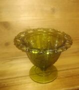 Vintage Indiana Glass Pedestal Scalloped Open Edges Harvest Grapes Candy Dish