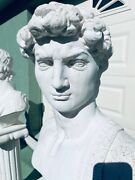 20th Century Cast Stone Carved Roman Bust Statue And Pedestal Vintage Neoclassical