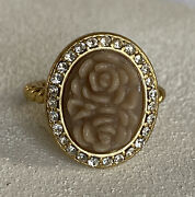 Lia Sophia Bestow Ring Size 6 Satin Matte Gold Tone Carved Rose Cameo Halo Frame