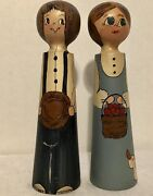 Doll Set Wooden Farmer And Wife, Handpainted Preowned, Country Farmhouse Vintage