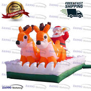 13x6.6ft Inflatable Santa Clause With Reindeer Christmas Holiday Decoration