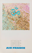 Original Vintage Poster - Raymond Pages - Air France - India - Airplane - 1971