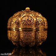 China Qing Dynasty Pure Copper Gilt Hand Carved Melon Pattern Jewelry Box