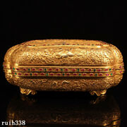 20 China Qing Dynasty Pure Copper Gilt Hand Carving Set Gemstone Jewelry Box