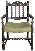 Antique Jacobean Oak Carved Slat Back Arm Chair Library Reading Accent 36