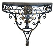 Vintage French Scrolled Iron And Marble Wall Mount Demilune Entry Console Table 36