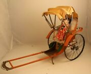 Antique 1930and039s Chinese Rickshaw Tin Toy With Doll8
