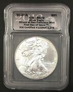 2012s Silver Eagle First Day Of Issue Struck At Sf Icg Ms70-enn Coins 1229pb