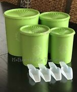 Tupperware Servalier Canister Set With Scoops Green 805 807 809 811 Vintage Nos