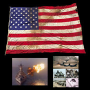 Rare Very Large 50 Star Reinforced Ensign Gulf War Operation Desert Storm Relic