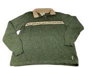 Womens Woolrich 1/4 Zip Sweater Bear Trees Cabin Theme Size S Free Shipping