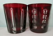 Ruby Red Cut To Clear A Pair Of Double Rocks Old Fashioned Dots And Stripes Euc