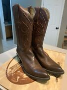 Lucchese Menand039s Whiskey Burn Baby Buff Leather Western Boots Size 8b Nib