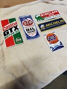 Lot Of 5 Porcelain Gas Oil Signs Stp Castrol Gulf Sinclair Michelin Reproduction