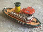 Neptune Tin Litho Toy Tug Boat Battery Operated Modern Toys Japan 1950s/1960