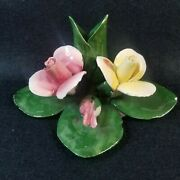 Vintage Capodimonte Decorative Pink And Yellow Flowers 4.5 Porcelain Leaves Stems