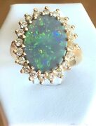 Wow---solid 14k Yellow Gold Opal And Diamond Ringsee Other Gold Jewelry And Coins.