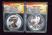 2013-w Silver Eagle 2 Coin Set Anacs Eu70/rp70 Enhanced/reverse First Day Issue